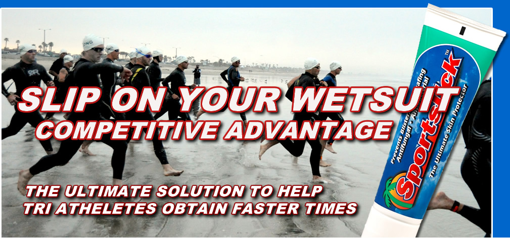 Slip on your wetsuit faster with Sportslick, Competitive Advantage